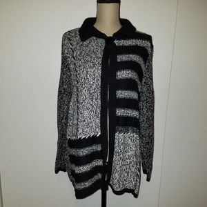 First Issue Black Gray Cardigan Sweater 2X
